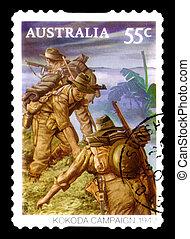 opłata pocztowa, australia, tłoczyć, :, -, odwołany,...