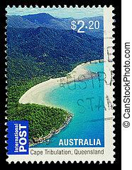 opłata pocztowa, australia, tłoczyć, pokaz, -, queensland, używany, 2010:, przylądek, australijski, circa, 2010, tribulation