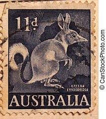 opłata pocztowa, australijski, stary, stamp.