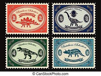 opłata pocztowa, komplet, dinozaury, ich, pieczęcie, cięcie, układ