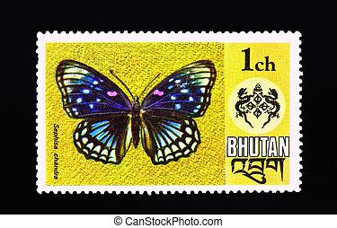 opłata pocztowa, motyl, to, tłoczyć