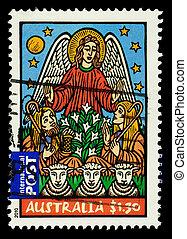 opłata pocztowa, pasterze, australia, sheep, anioł, tłoczyć, pokaz, -, boże narodzenie, używany, 2010:, australijski, circa, 2010