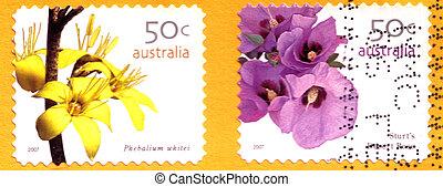 opłata pocztowa, :, pieczęcie, wildflowers, 2007, odwołany, australijski, circa