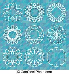 op, achtergrond, set, ronde, polygonal, ornament, spirograph
