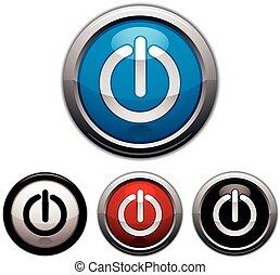 op af, macht, button.