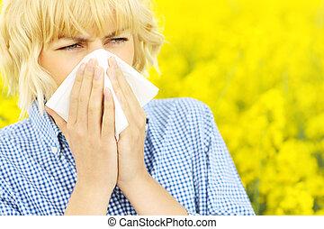 op, allergie, bloemen, vrouw