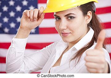 op, amerikaan, duim, economie