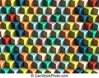 op, art, cubes, modèle