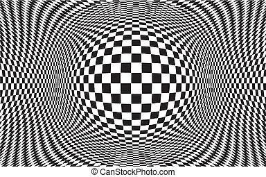 Black and white op art design pattern, concept for hypnosis, unconscious, chaos, extra sensory perception, psychic, stress, strain, optical illusion. EPS8 compatible.