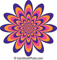 Op Art Flower in Pink-Purple-Orange