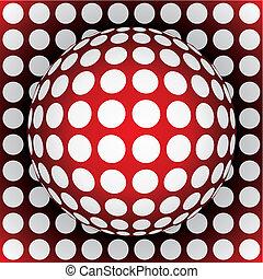 op-art red sphere - 3d vector illustration