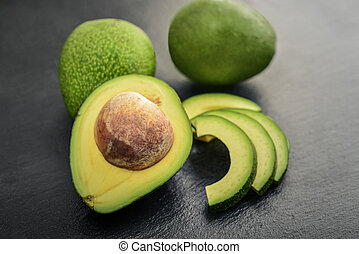 op, avocado, zwarte achtergrond, fris, lei