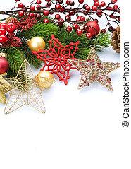 op, baubles, witte kerst