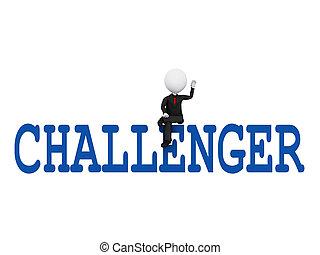 op, bereiken, uitdaging, succes, zittende