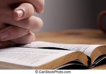 op, biddend, bijbel