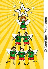 op, boompje, gele, kinderen, achtergrond, kerstmis