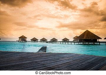 op, bungalows, water, verbazend, stappen, lagune, groene