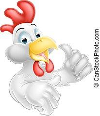 op, chicken, spotprent, duimen