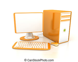 op, computer, witte achtergrond