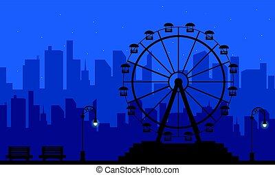 op de avond, vermaak, landschap, silhouette