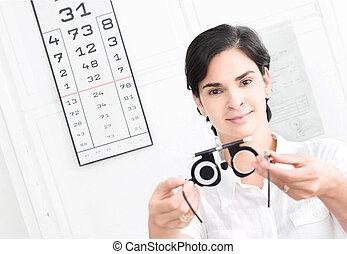 op, de, opticien