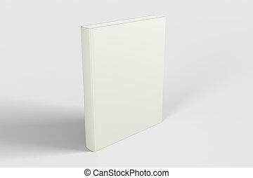 op, dekking, boek, leeg, witte , spotten