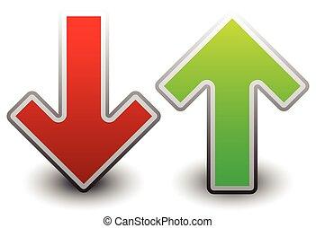 op, dons, arrow., groene, vector., rood