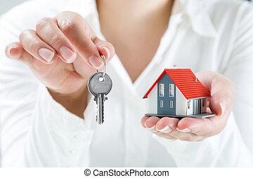 op, echte, handing, sleutels, agent, landgoed