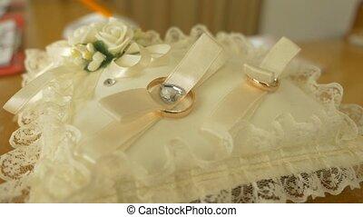 op, een, kussen, van, kant, leugen, ringen, bruid en...