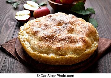 op einde, pastei, appel, aanzicht