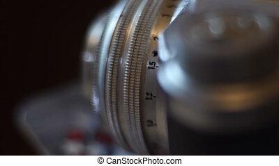 op, film, fototoestel, afsluiten, ouderwetse