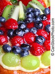 op, fruit, afsluiten, taart