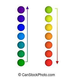 op, gaphic, isoalted, kleuren, helling, regenboog, achtergrond, witte , gedaantes, pijl, communie, vector, omlaag., cirkel, ontwerp