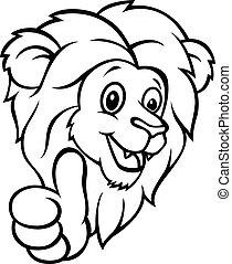 op, gekke , duim, spotprent, leeuw, geven