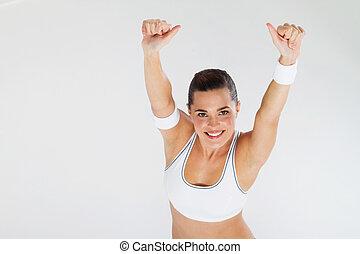 op, geven, vrouw, duimen, fitness
