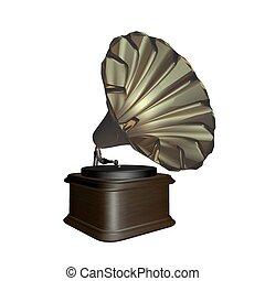 op, grammophone, witte achtergrond, vrijstaand