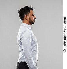 op, grijze , indiër, achtergrond, zakenman, zijaanzicht