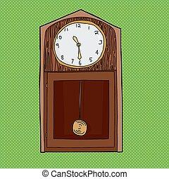 op, grootvader, groene, klok