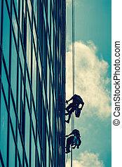 op grote hoogte, werken, wolkenkrabber