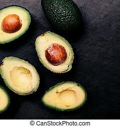 op, halved, bovenzijde, achtergrond., black , overzicht., avocado's