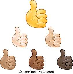 op, hand, duimen, emoji