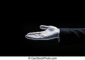 op, hand, gloeiend, zwarte achtergrond, zakenman