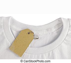 op, hangen, tshirt, label, leeg, prijs