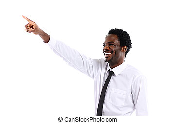 op, iets, afrikaan, zakenman, denkbeeldig, witte , het voorstellen