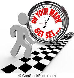 op je teken gaan, is gezet, persoon, het snelen, klok, tijd