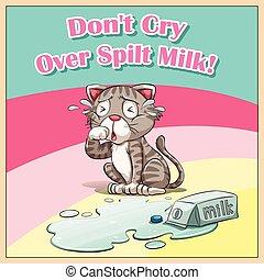 op, kat, melk, het schreeuwen, spilt