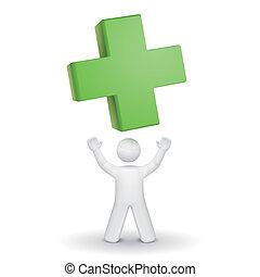 op, kruis, het kijken, persoon, groene, 3d