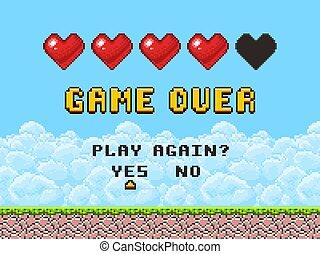 op, kunst, arcade, scherm, illustratie, spel, vector, pixel