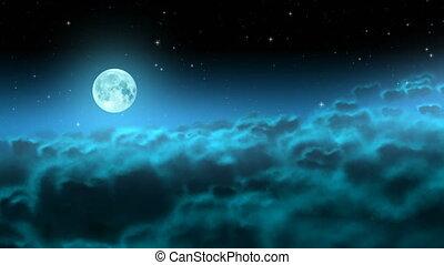 op, maan, wolken, lus, nacht
