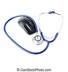 op, op, vrijstaand, stethoscope, achtergrond, afsluiten, witte , aanzicht